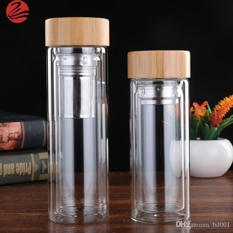 Couvercles en bambou durable coupe haute résistance à la température double couches bouteilles d'eau en verre avec thé infuseur filtre rond Tumbler populaire 20 5bd BB