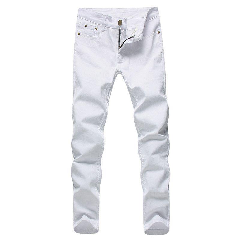 2018 Hommes Stretch Jeans Denim Fashion Blanc Pantalons pour Homme Printemps et Automne Retro Casual Pantalons Jeans Taille 27-36