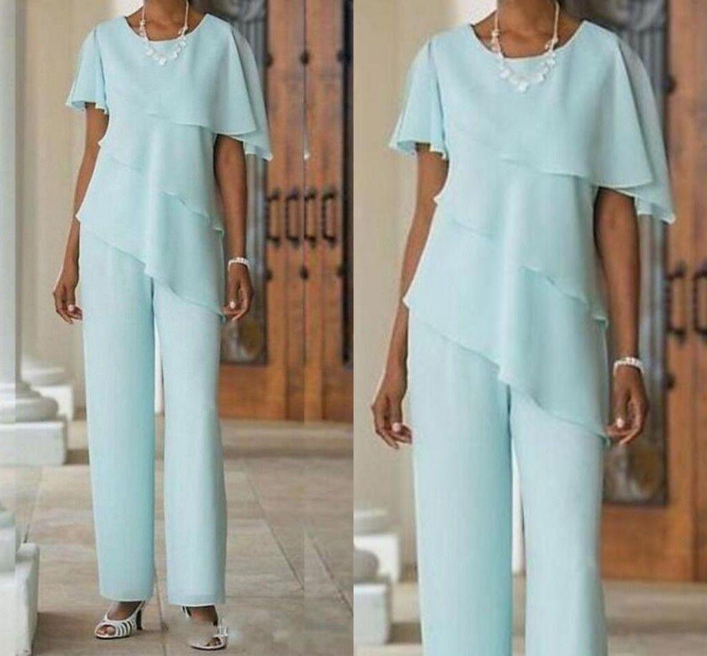 Elegante Blaue Chiffon Knöchellangen Mutter der Braut Hose Anzüge Mit Kappen-Hülsen Jewel Neck Rüschen Mutter Kleider Plus Größe mit Jacke