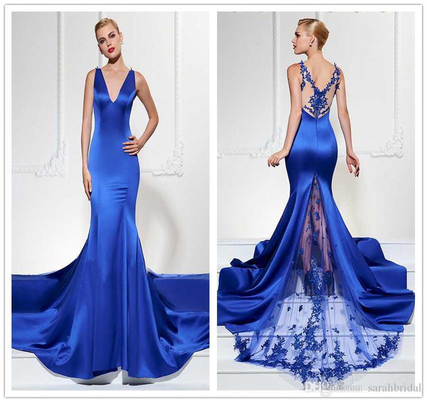 2019 sarabridal sexy v cou sirène robes de soirée dos divisé voir à travers la dentelle Applique sur mesure balayé train robe de bal robe de demoiselle d'honneur robes