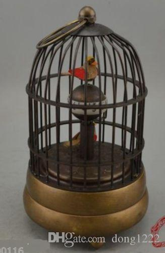 Collectible Decorate Old Handwork Copper Two Bird In Cage Mechanical Table Clock