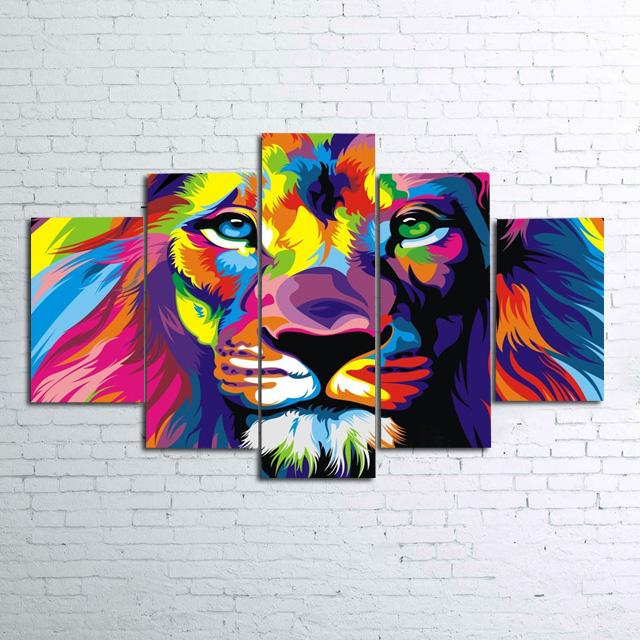 5 Pieces Modern Wall Art Round diamond Painting Animal Painting Decorative Picture Home Decor mosaic Color Abstract tiger DP121