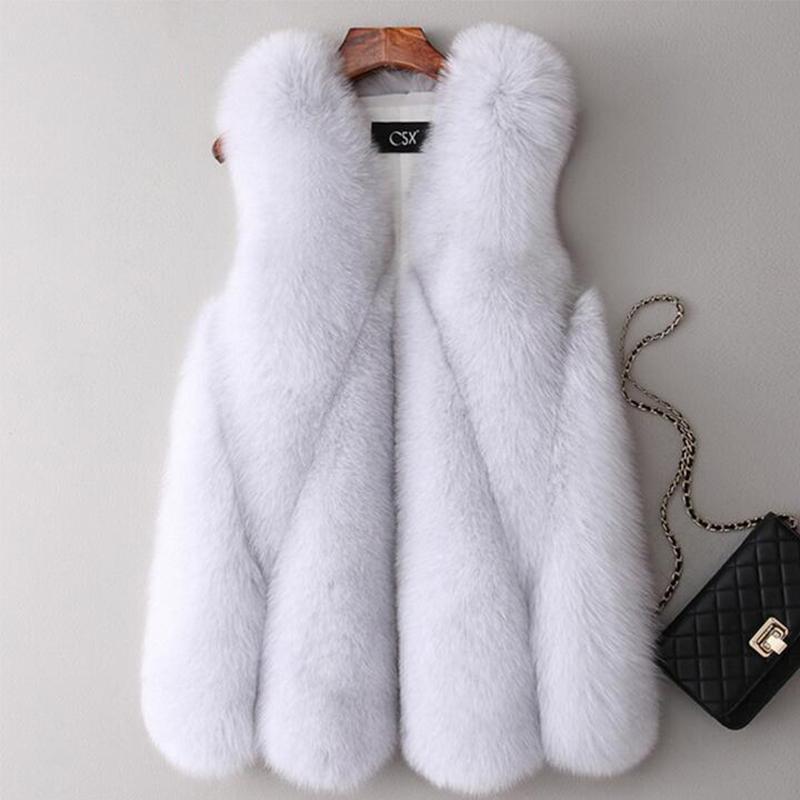 Elmas Sahte Kürk yelek kadın Kış Sıcak Outercoat Kolsuz Lüks Sahte Fox Kürk Ceket Kadın Çok renkli Yumuşak V-Yaka Kürk