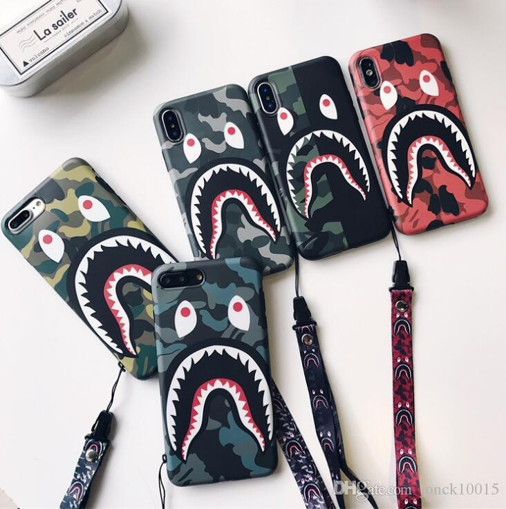 Gezeitenmarke tarnt Haifischmund für iphone XS MAX Handyoberteil iPhone8 Mattpaare 6s / 7 kreatives Abzugsleine TPU intelligentes Telefon
