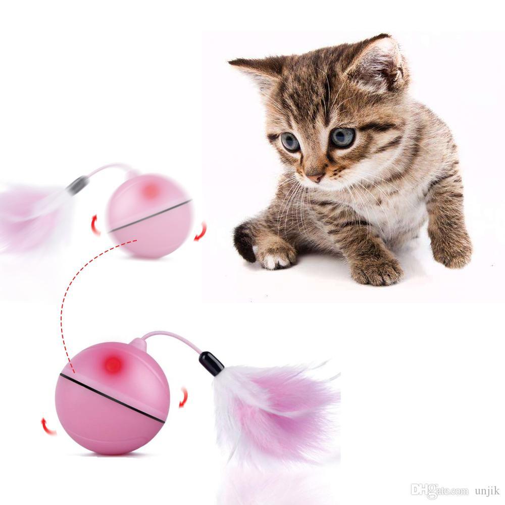 3coloa / Paket Elektro-Spielzeug-Kugel Hund Katze Spielzeug automatische Haustier-Plüsch-LED-Laser-Licht elektronischer Rolling Ball