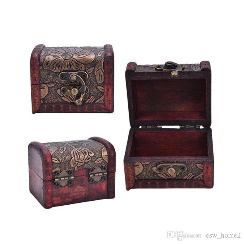خمر خشبية مجوهرات التخزين الكنز الصدر الخشب مربع كاري الحالات المنظم هدايا العتيقة حالة التصميم القديم خمر