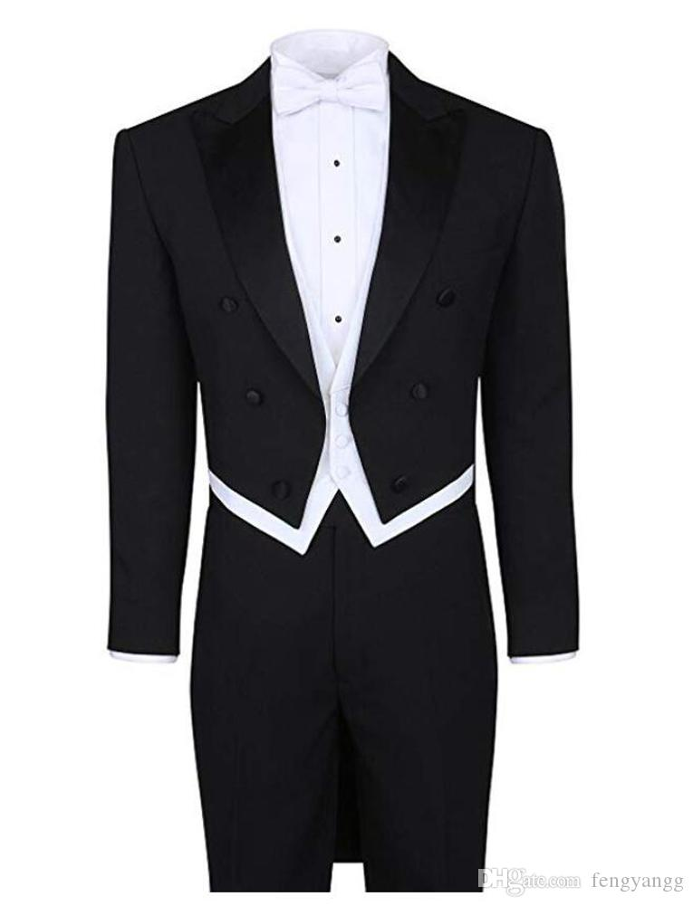 Black White Tailcoat Wedding Suit Peak Lapel 4 Pieces (Jacket+Pants+Vest+Bow Tie) Men Suits for Evening Party Homecoming Prom Tuxedos