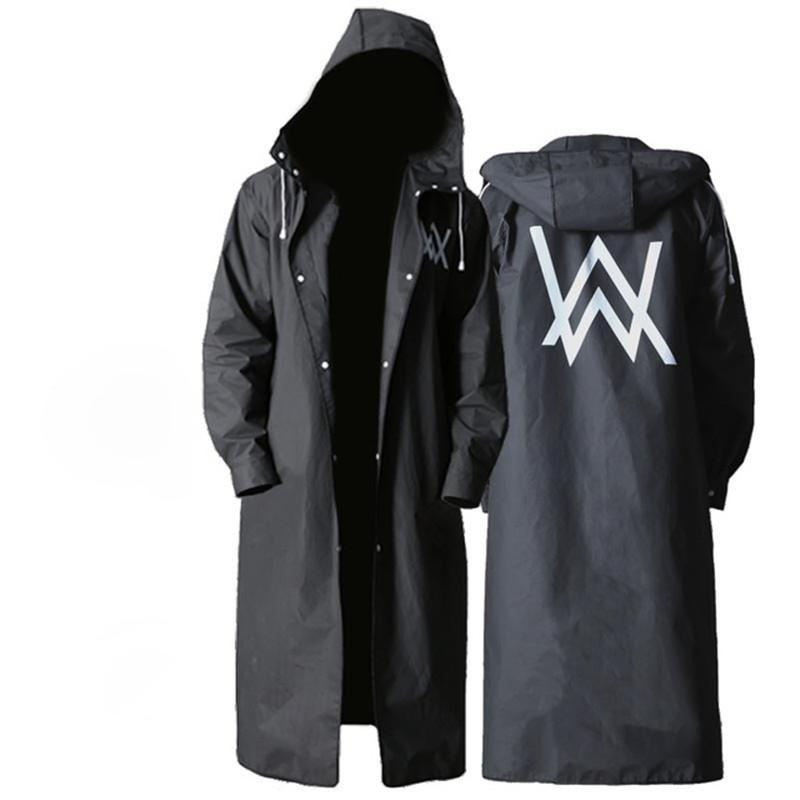 Long Raincoat Women Men Waterproof,Travel Portable Backpack Rain coat Section Tide Waterproof Trench Rain Coat Hooded Big size