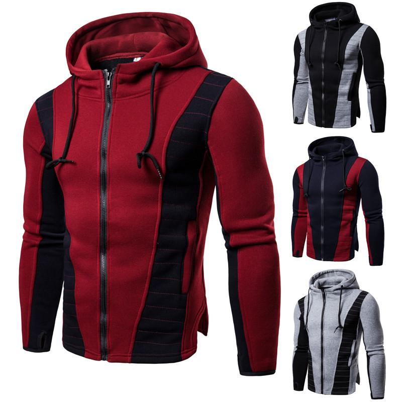 Big Hit Mens Sweatshirt Casual Patchwork Slim Hoodie Jacket,Navy,S