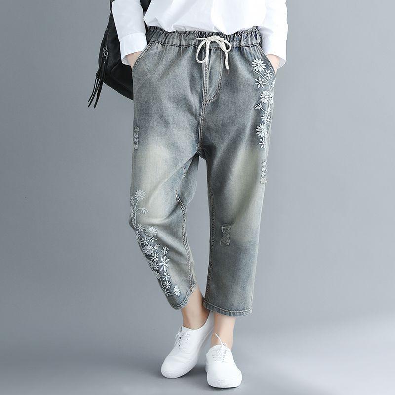 Серый Джинсовые Брюки Осень Мода Новые Прекрасные Цветы Вышивка Отбеленные Джинсы Большой Размер Весна Лето Женщины