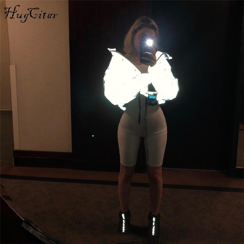 Hugcitar طويلة الأكمام سستة جيب العاكسة القطن مبطن سترة سميكة 2018 الخريف الشتاء النساء أزياء جديدة ستر
