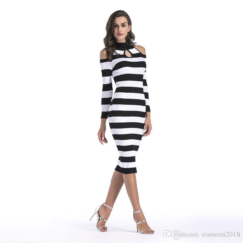 Designer Women Clothes Strapless Bodycon Party Dresses Knitwear striped slim autumn dress Long sleeve Sexy crew neck Plus Size Clothing