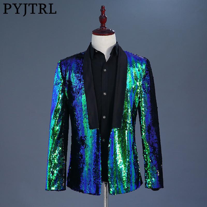 PYJTRL Tide Erkek İki Renkler Sequins Blazer DJ Singer Gece Kulübü Mavi Yeşil Mor Altın Gümüş Ceket Kıyafet çift dönüm