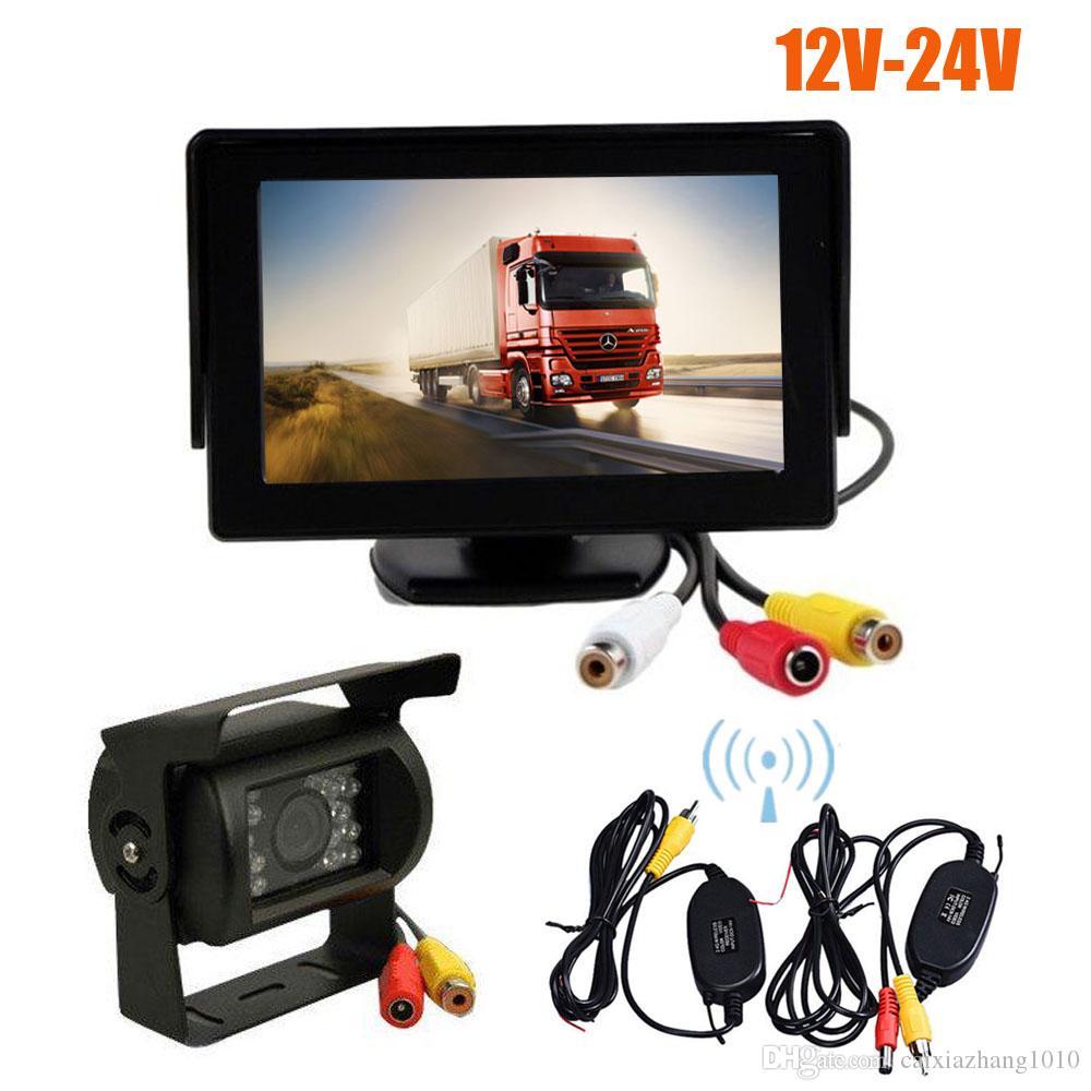 "Wireless 18 LED IR Night Vision Car Parking Reverse Backup Camera + 4.3"" LCD Monitor Car Rear View Kit 12V-24V"