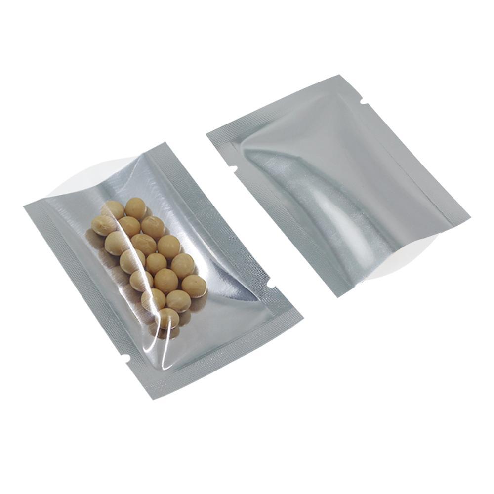 200pcs / lot sacs en aluminium argentés à toit ouvert transparent pour l'emballage de la nourriture sacs d'emballage sous vide en plastique thermoscellés Mylar