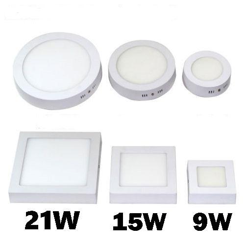 Бесплатная доставка 9W 15W 21W 30W Круглые / Квадратные светодиодные индикаторы панели Накладные SMD2835 светодиодный потолочный светильник вниз света
