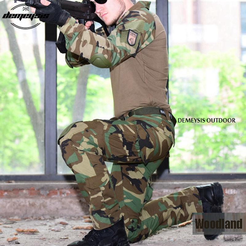 Woodland Tarnung Armee Uniform Tactical Combat Suit Krieg Spiel Kleidung Shirt + Hosen Ellenbogen Knieschützer