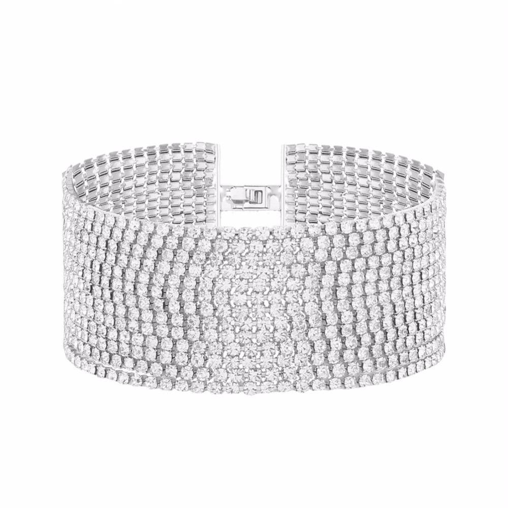 Braccialetti di strass di più strati per i braccialetti di dichiarazione delle donne Gioielli di nozze di lusso della donna di moda # 241009