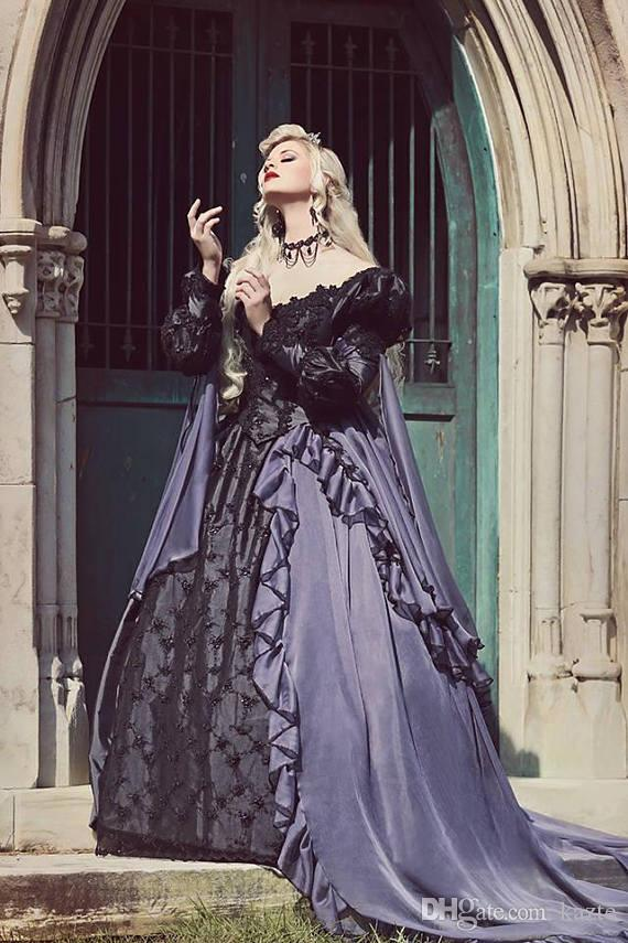 Grey And Black Gothic Sleeping Beauty Halloween Medieval Fantasy Wedding  Gown Plus Size Lace Up Long Sleeve Gothic Wedding Dress Beach Wedding  Dresses ...