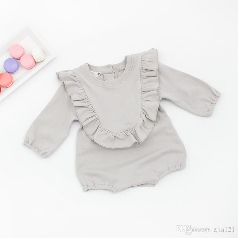 100% Cotton Baby Girl Romper Cute Long Sleeve Jumpsuit Toddler Fashion Clothes Girls Lovely Playsuit Ruffle Collar Girl Clothing