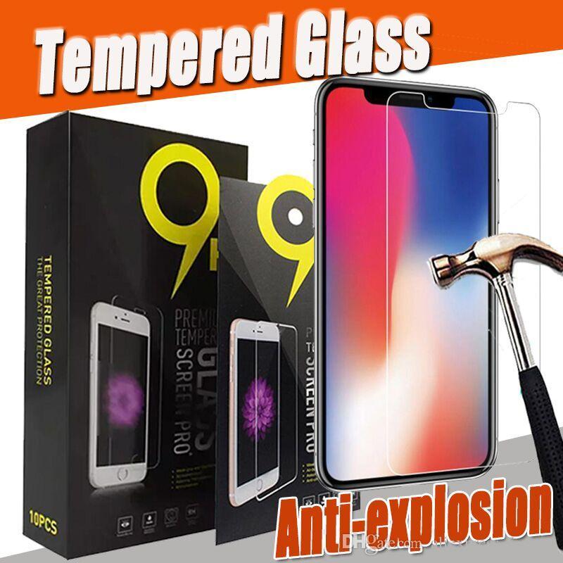 9 h premium claro transparente vidro temperado protetor de tela guarda para iphone 11 pro max xs xr x 8 7 6 plus 5 se anti-choque tem pacote