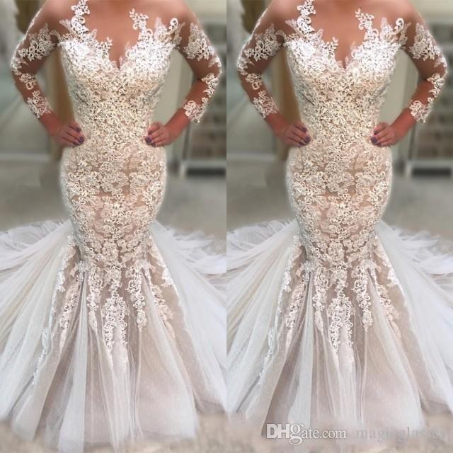 Wunderschöne lange Ärmel 2019 Brautkleid Meerjungfrau schiere Tüll Spitze Applique Brautkleider formale Vestidos de Novia Custom Made