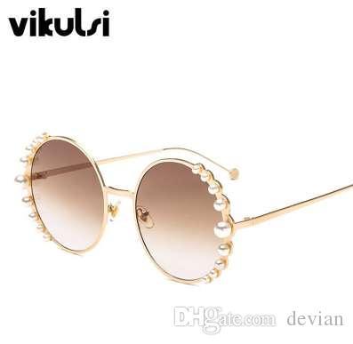 Perles de luxe lunettes de soleil rondes femmes mode alliage cadre marque perles concepteur lunettes de soleil pour femme brun nuances UV400 Nouveau