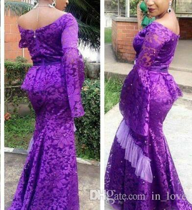 Nuovo design unico Purple Lace Mermaid Prom Dresses Long Flare Sleeves Off spalla African Evening Dress Party Gowns Custom Made