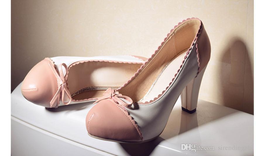 Gratis enviar 2018 primavera y otoño nuevo estilo de tacón alto redondo cabeza zapatos de mujer