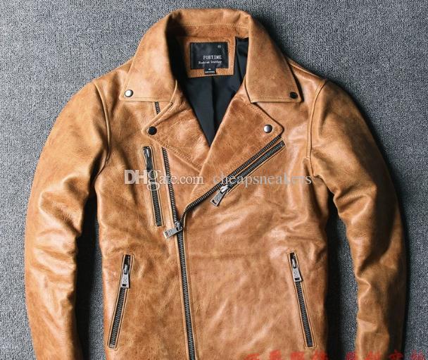 Veste en cuir de moteur jaune pour homme en cuir rétro revers à glissière costume locomotive costume vintage manteaux punk