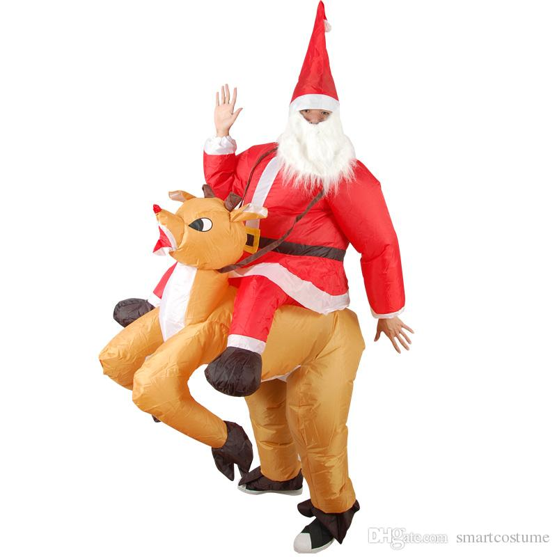 Unisex Adult Santa Claus Ride A Reindeer Fancy Dress Costume One Size