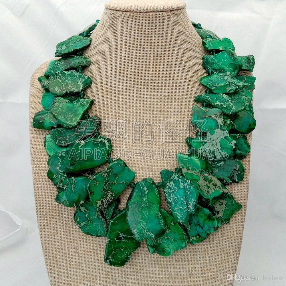 N073016 21 '' 2-х ниточный зеленый морской осадок Императорский камень Кристалл Ожерелье