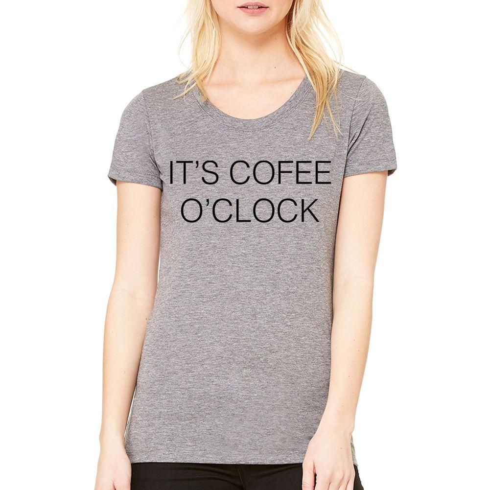 Kadın Tee Kahve O'clock Serin T-shirt Yeni Boyutları S-Xl Harajuku Punk Tees Tops Kadın T Shirt Harajuku Kawaii Komik Marka Tops
