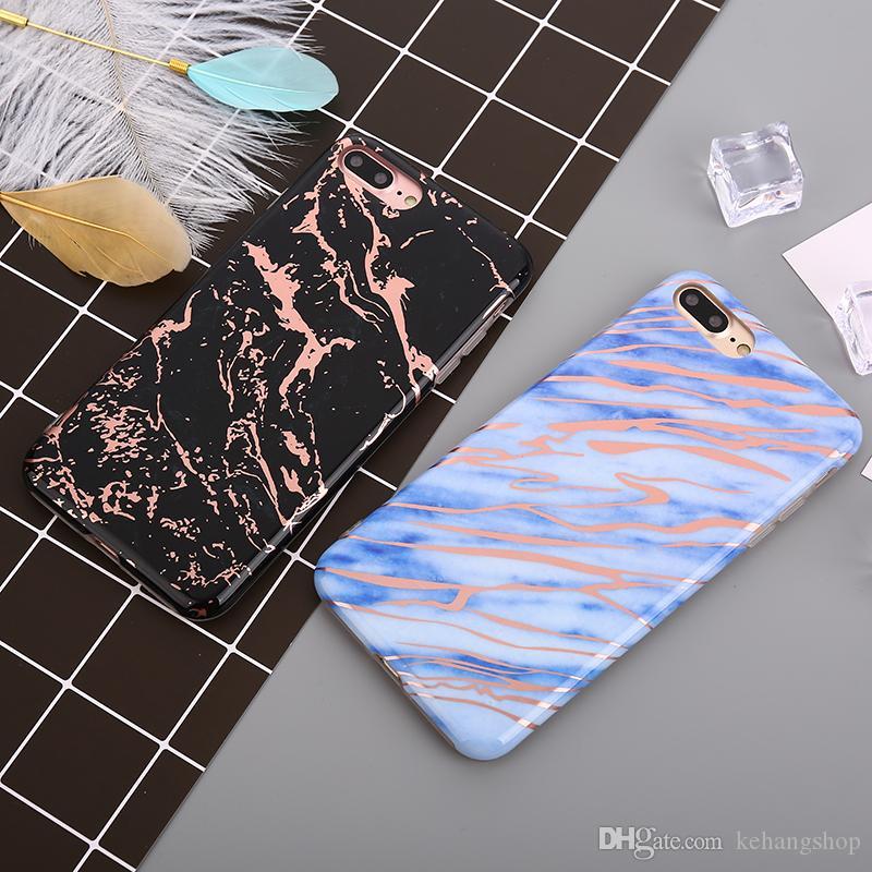 Macio chapeamento Phone Cases para iPhone 8 Marble Caso brilhante Laser capa para o iPhone 8 Plus Caso brilhante TPU de protecção Capa Coque