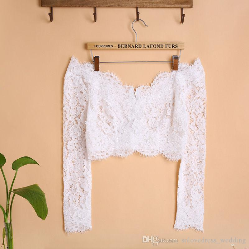 Solovedress épaule manches longues en dentelle de mariage boléro veste femmes col v mariée mariage chaîne / shurg