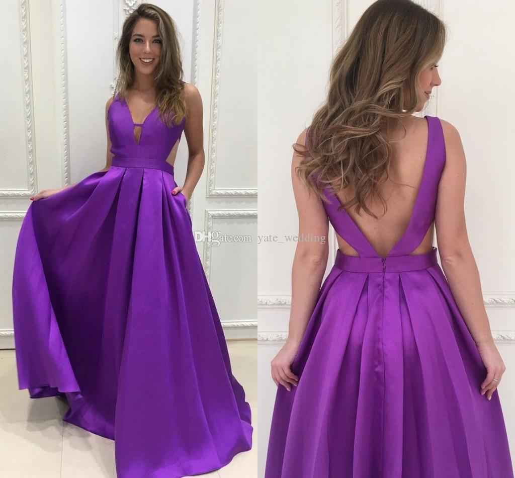 Compre Vestidos De Baile Largos De Raso Púrpura Simple Vestidos De ...