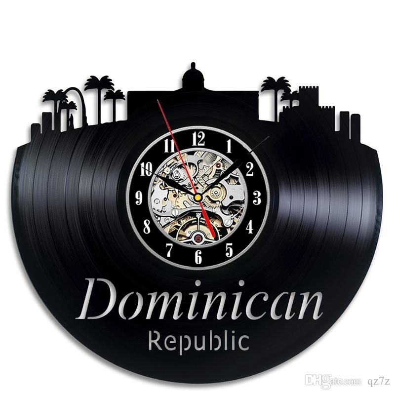 República Dominicana reloj de pared de vinilo Simple moderna decoración del hogar artesanías creativas regalos hechos a mano oficina arte de la pared decoración reloj de cuarzo negro