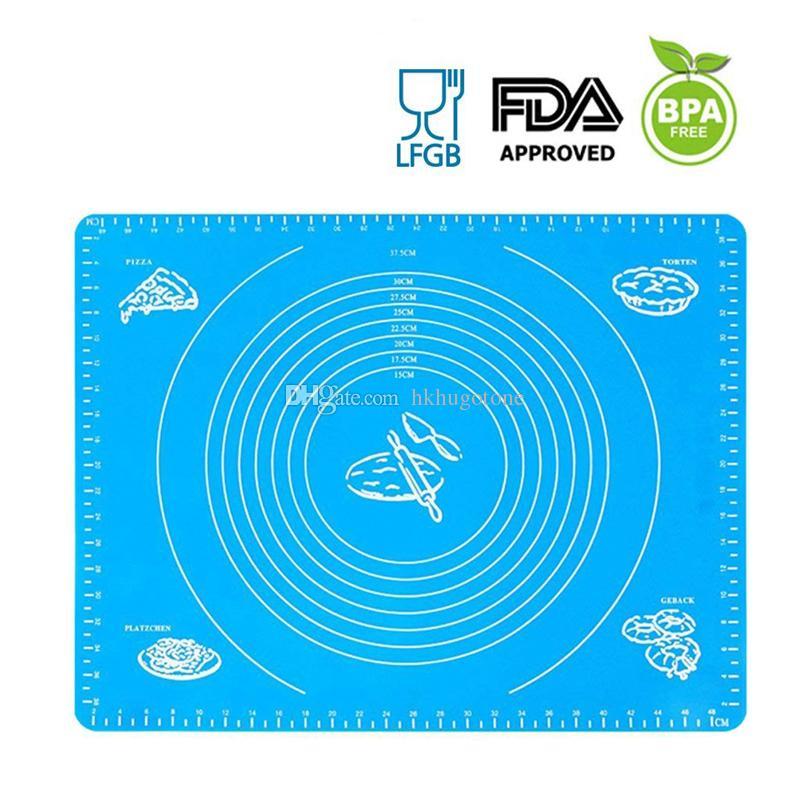 Dhl سيليكون الخبز حصيرة الغذاء grder العجن حصيرة عالية مقاومة للحرارة سماكة زلة دائرة مع مقياس الخبز حصيرة مربع التجزئة