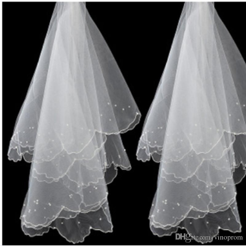 New Fashion for Bride 2018 One strato breve velo da sposa accessori spedizione gratuita perla beige w veli da sposa