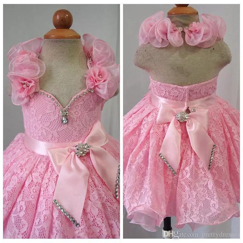 2019 Halter Pink Girls Lace Pageant Cupcake Dresses Infant Special Occasion Skirts Toddler Handmade Party Dress Kids Short Birthday Wear
