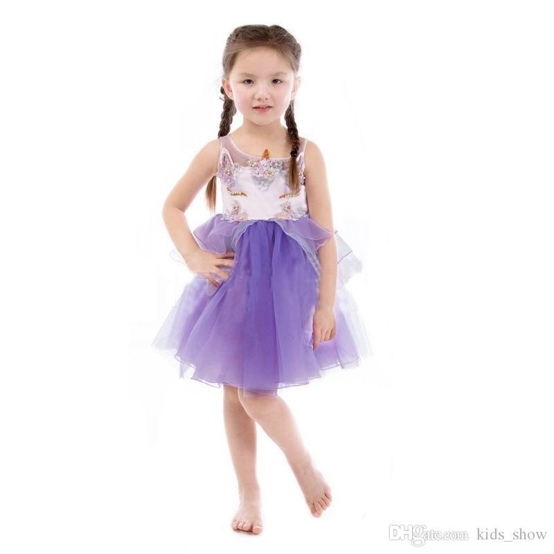 Compre Lovely Nicorn Vestido De Niña Bordado Rebordear Vestido ...