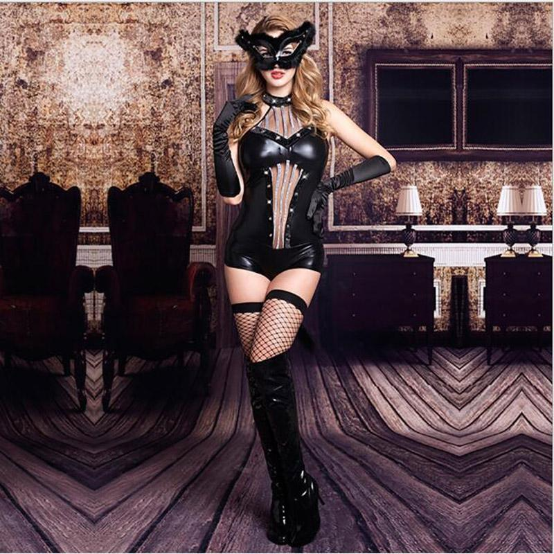 New Arrival Sexy Women PU Leather Lingerie Bodysuits Erotic Leotard Costumes Hot Latex Catsuit Catwomen Tight Bodysuit