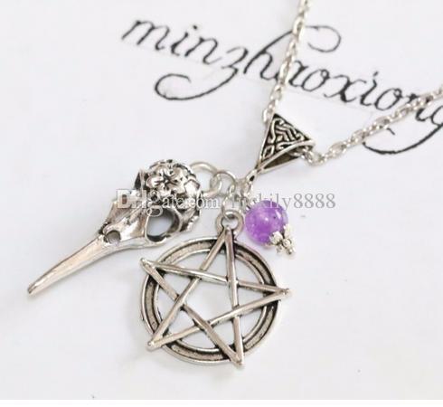 20 teile / los Vintage Antike Silber Vogel Crow Schädel Pentagramm stern Charms Anhänger Halskette