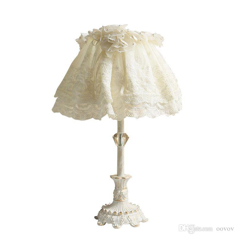 OOVOV Cute Baby Room Table Lamps White Girl Room Princess Room Bedroom Bedsides Resin Desk Light