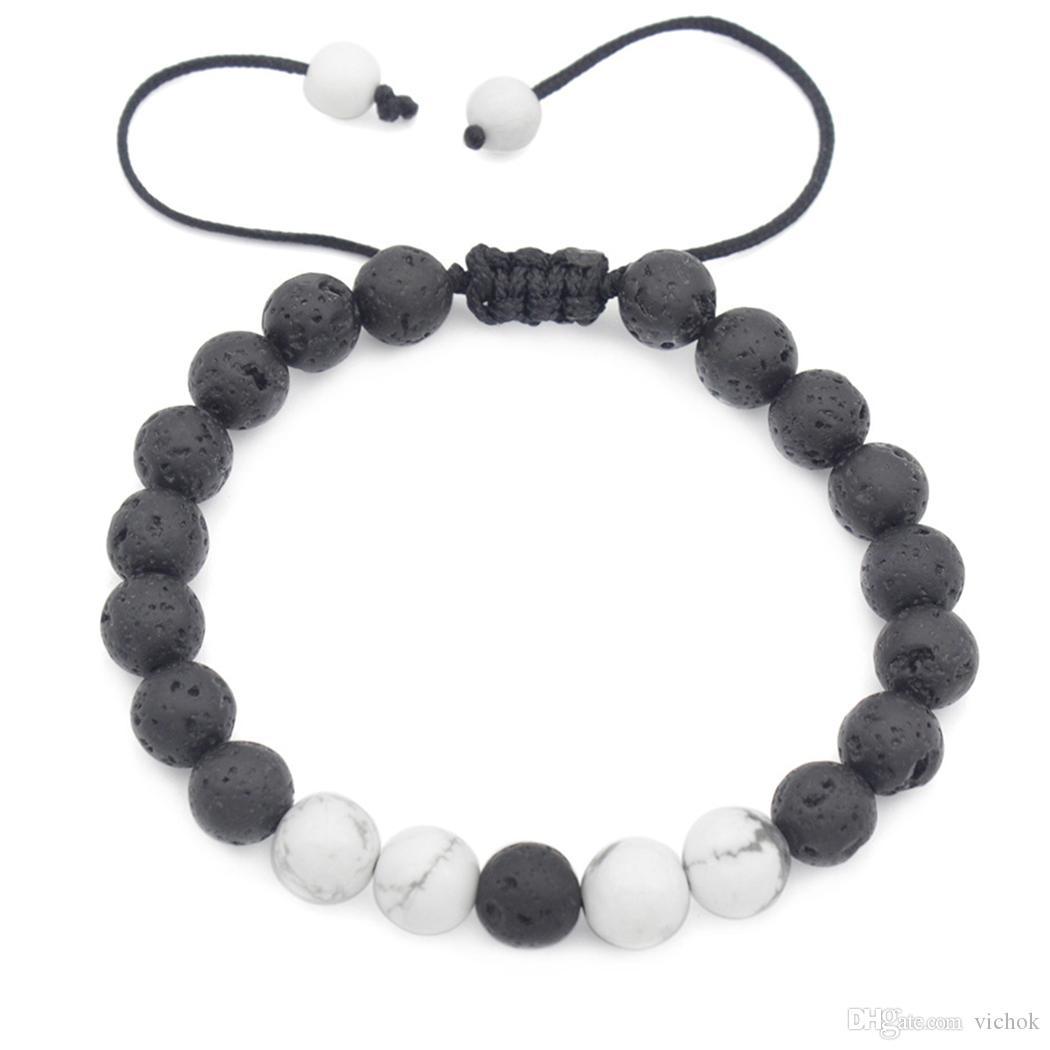 Lava Rock Beads Pulseras Moda Piedra Natural Joyería Punk Longitud ajustable Brazalete para Hombres Mujeres Regalo VICHOK