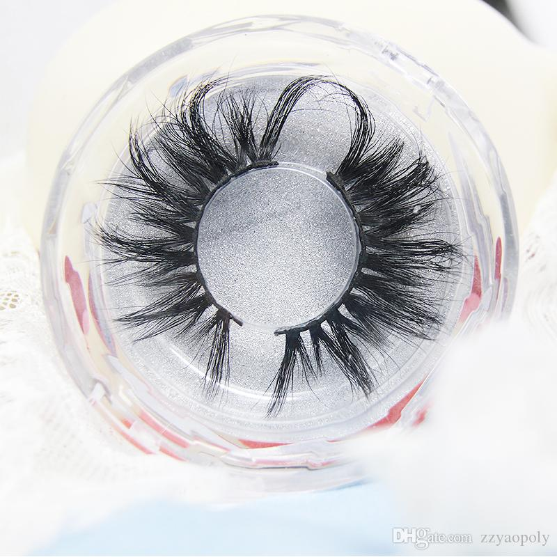 25 mm 새로운 긴 3D 밍크 속눈썹 전용 라벨 볼륨 밍크 속눈썹 확장 두꺼운 밍크 래쉬 학대 무료 털이 자연스러운 가위