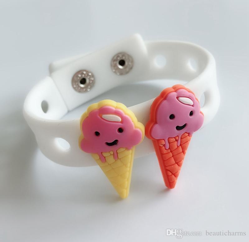 10PCS PVC Ice Cream Shoe Charms Soft decoration accessories Fit Kid's Cross Shoes, Cross Bracelets, Shoe Accessories, Children gifts