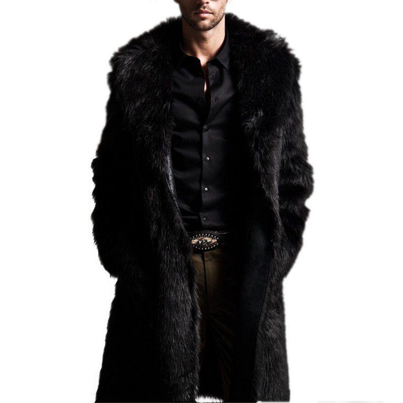 Mäntel Großhandel Mann Langer Kragen Winter Mantel Langarm Mantel Turn Aus Kunstpelz Outwear Männer Von Jacken Mantel Wholesale Down Lang Herren LGjzVqSUMp