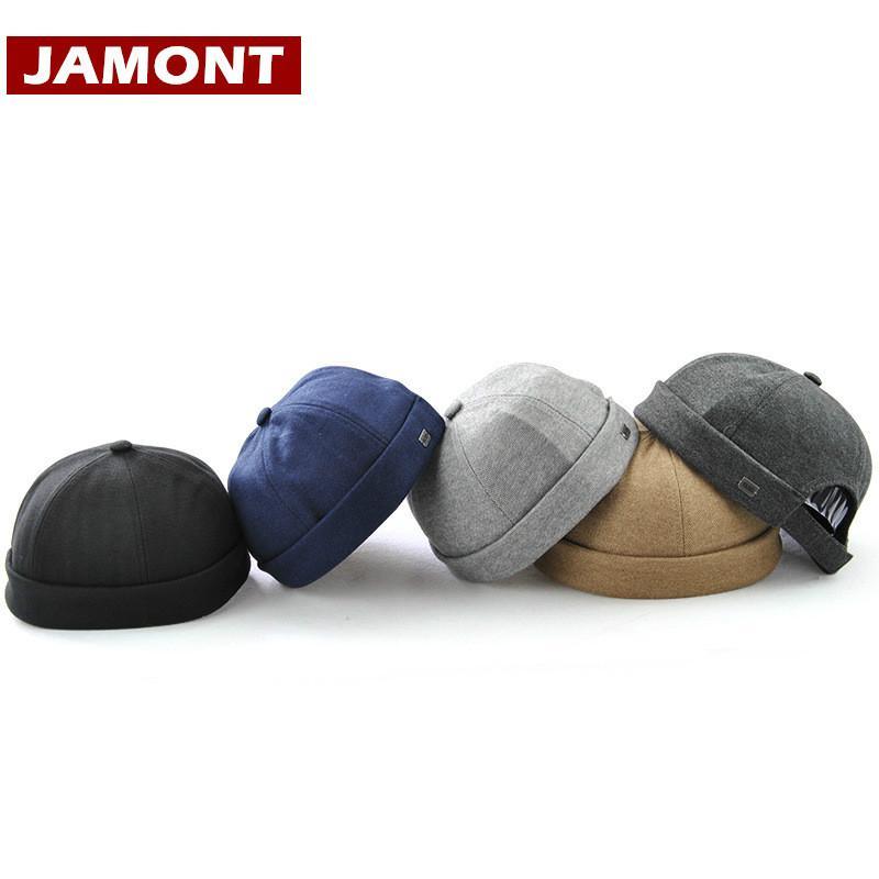 [JAMONT] Homens Casuais Chapéus Beanie Skullcap Sólidos Gorros De Algodão Moda Chapéu Novo Casquette Portátil