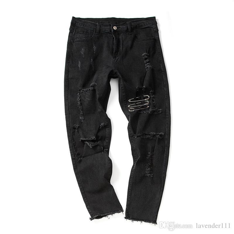 Destroyed Denim Pants Men Full Length New Design Ripped Distressed Hip-hop Pants Men's Trousers Black Cotton